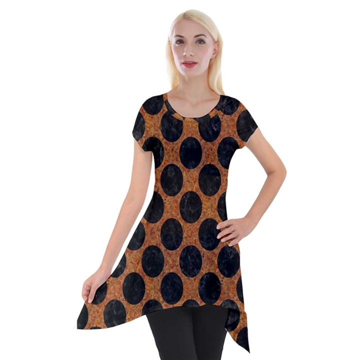 CIRCLES2 BLACK MARBLE & RUSTED METAL Short Sleeve Side Drop Tunic