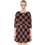 CIRCLES2 BLACK MARBLE & RUSTED METAL Smock Dress