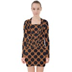 CIRCLES2 BLACK MARBLE & RUSTED METAL V-neck Bodycon Long Sleeve Dress