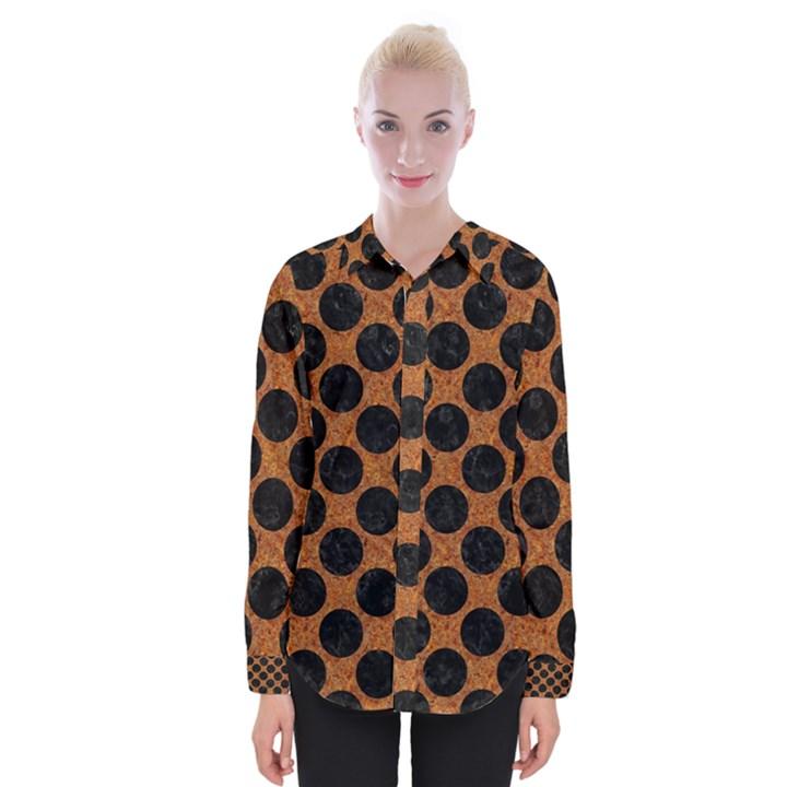 CIRCLES2 BLACK MARBLE & RUSTED METAL Womens Long Sleeve Shirt