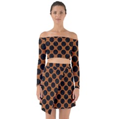 Circles2 Black Marble & Rusted Metal Off Shoulder Top With Skirt Set