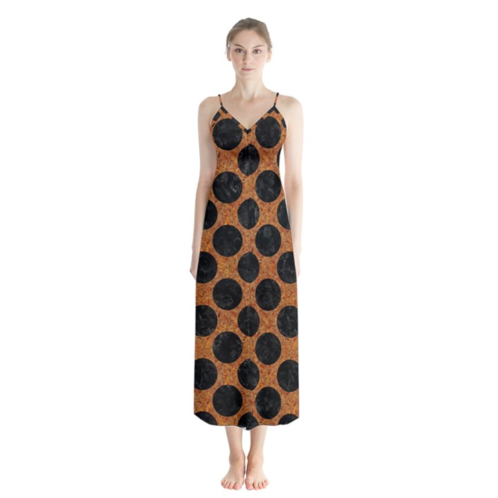 CIRCLES2 BLACK MARBLE & RUSTED METAL Button Up Chiffon Maxi Dress