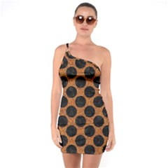 Circles2 Black Marble & Rusted Metal One Soulder Bodycon Dress