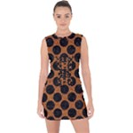 CIRCLES2 BLACK MARBLE & RUSTED METAL Lace Up Front Bodycon Dress