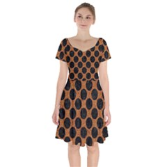 Circles2 Black Marble & Rusted Metal Short Sleeve Bardot Dress