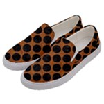 CIRCLES2 BLACK MARBLE & RUSTED METAL Men s Canvas Slip Ons