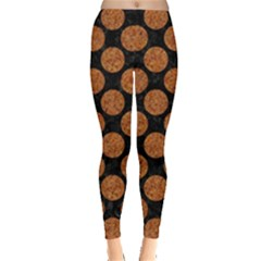Circles2 Black Marble & Rusted Metal (r) Leggings