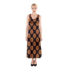 CIRCLES2 BLACK MARBLE & RUSTED METAL (R) Sleeveless Maxi Dress