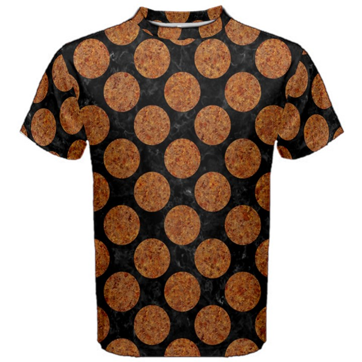CIRCLES2 BLACK MARBLE & RUSTED METAL (R) Men s Cotton Tee