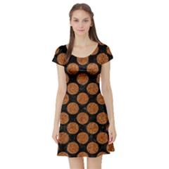 CIRCLES2 BLACK MARBLE & RUSTED METAL (R) Short Sleeve Skater Dress