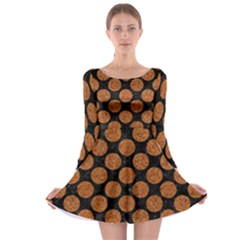 Circles2 Black Marble & Rusted Metal (r) Long Sleeve Skater Dress