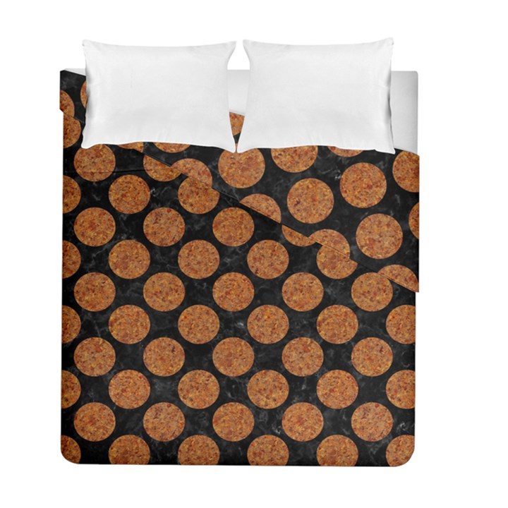 CIRCLES2 BLACK MARBLE & RUSTED METAL (R) Duvet Cover Double Side (Full/ Double Size)