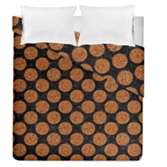 Circles2 Black Marble & Rusted Metal (r) Duvet Cover Double Side (queen Size) by trendistuff