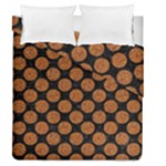 CIRCLES2 BLACK MARBLE & RUSTED METAL (R) Duvet Cover Double Side (Queen Size)