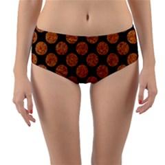 CIRCLES2 BLACK MARBLE & RUSTED METAL (R) Reversible Mid-Waist Bikini Bottoms