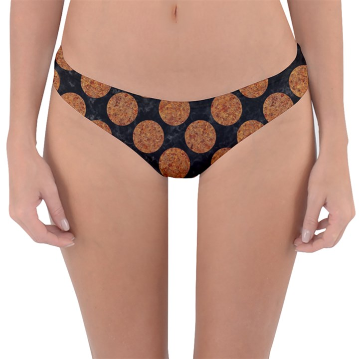 CIRCLES2 BLACK MARBLE & RUSTED METAL (R) Reversible Hipster Bikini Bottoms