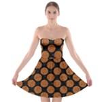 CIRCLES2 BLACK MARBLE & RUSTED METAL (R) Strapless Bra Top Dress