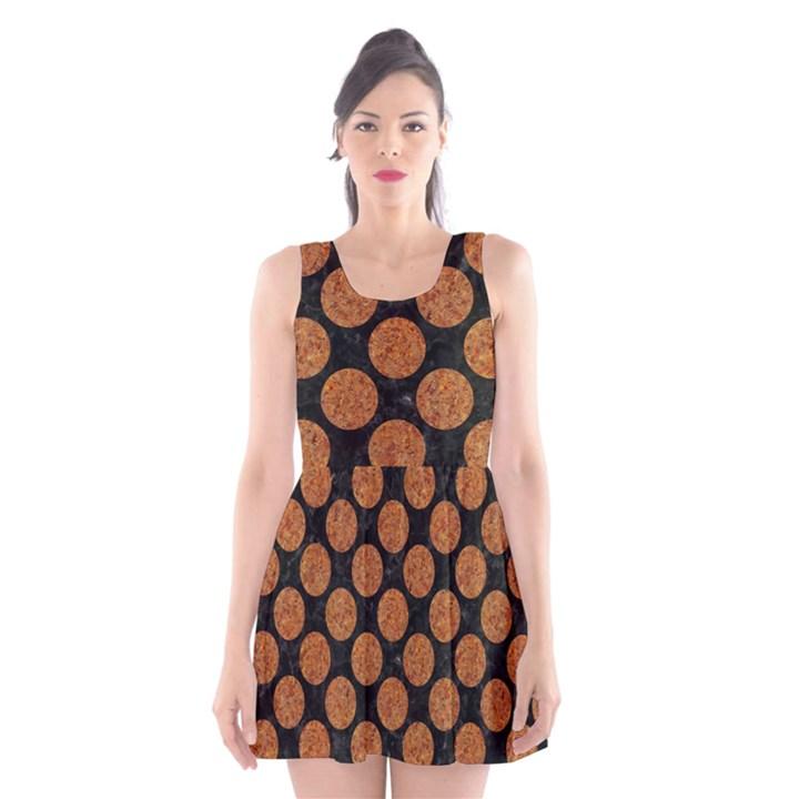 CIRCLES2 BLACK MARBLE & RUSTED METAL (R) Scoop Neck Skater Dress