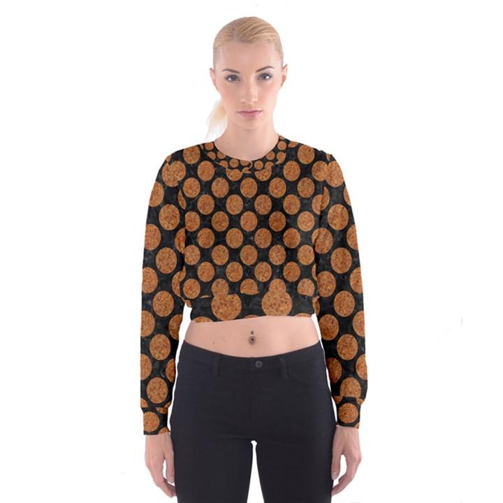 CIRCLES2 BLACK MARBLE & RUSTED METAL (R) Cropped Sweatshirt