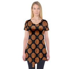 Circles2 Black Marble & Rusted Metal (r) Short Sleeve Tunic