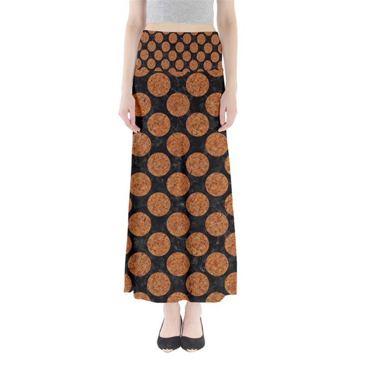 CIRCLES2 BLACK MARBLE & RUSTED METAL (R) Full Length Maxi Skirt