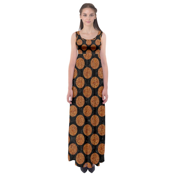 CIRCLES2 BLACK MARBLE & RUSTED METAL (R) Empire Waist Maxi Dress