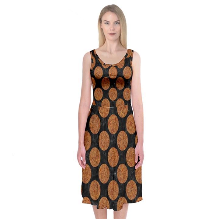 CIRCLES2 BLACK MARBLE & RUSTED METAL (R) Midi Sleeveless Dress