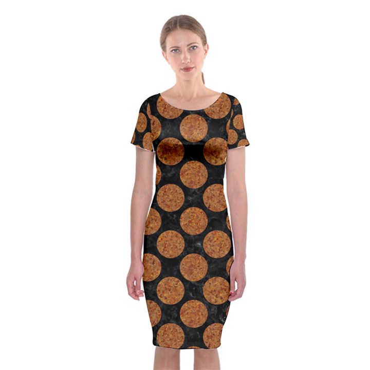 CIRCLES2 BLACK MARBLE & RUSTED METAL (R) Classic Short Sleeve Midi Dress