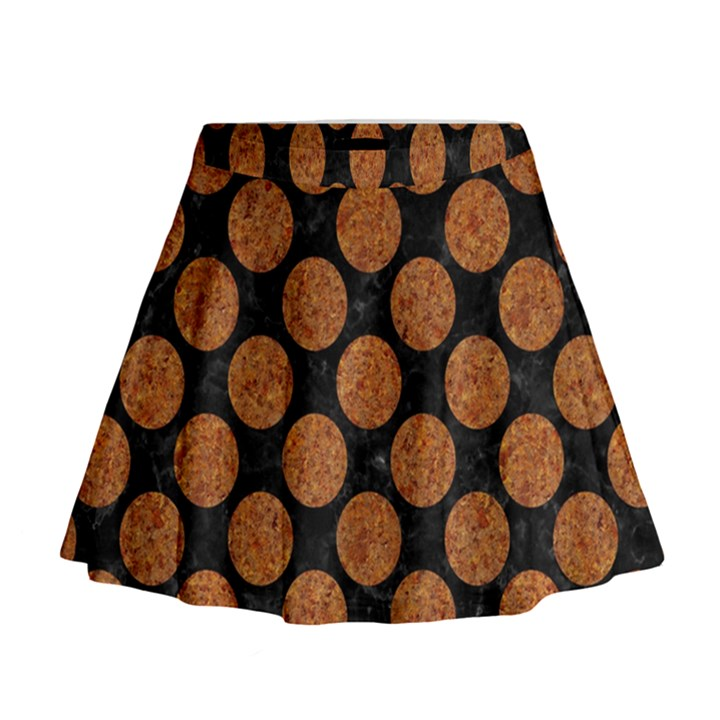CIRCLES2 BLACK MARBLE & RUSTED METAL (R) Mini Flare Skirt