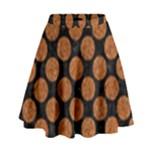 CIRCLES2 BLACK MARBLE & RUSTED METAL (R) High Waist Skirt