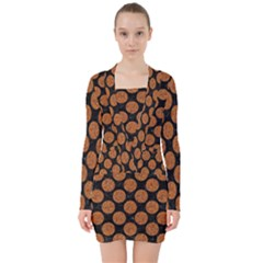 Circles2 Black Marble & Rusted Metal (r) V Neck Bodycon Long Sleeve Dress by trendistuff