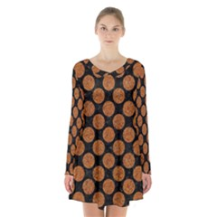 Circles2 Black Marble & Rusted Metal (r) Long Sleeve Velvet V Neck Dress