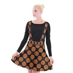 Circles2 Black Marble & Rusted Metal (r) Suspender Skater Skirt