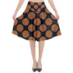 Circles2 Black Marble & Rusted Metal (r) Flared Midi Skirt