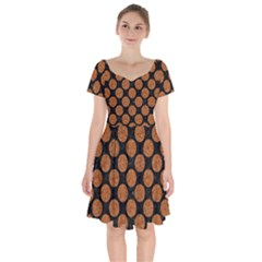 Circles2 Black Marble & Rusted Metal (r) Short Sleeve Bardot Dress by trendistuff