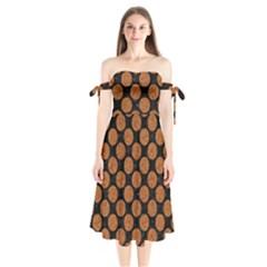 CIRCLES2 BLACK MARBLE & RUSTED METAL (R) Shoulder Tie Bardot Midi Dress