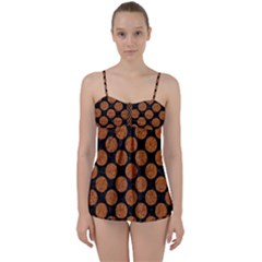 Circles2 Black Marble & Rusted Metal (r) Babydoll Tankini Set by trendistuff