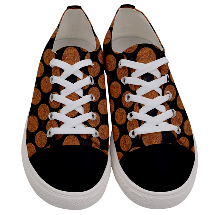CIRCLES2 BLACK MARBLE & RUSTED METAL (R) Women s Low Top Canvas Sneakers