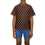 CIRCLES3 BLACK MARBLE & RUSTED METAL Kids  Short Sleeve Swimwear