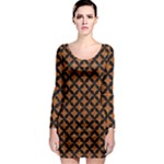 CIRCLES3 BLACK MARBLE & RUSTED METAL Long Sleeve Bodycon Dress
