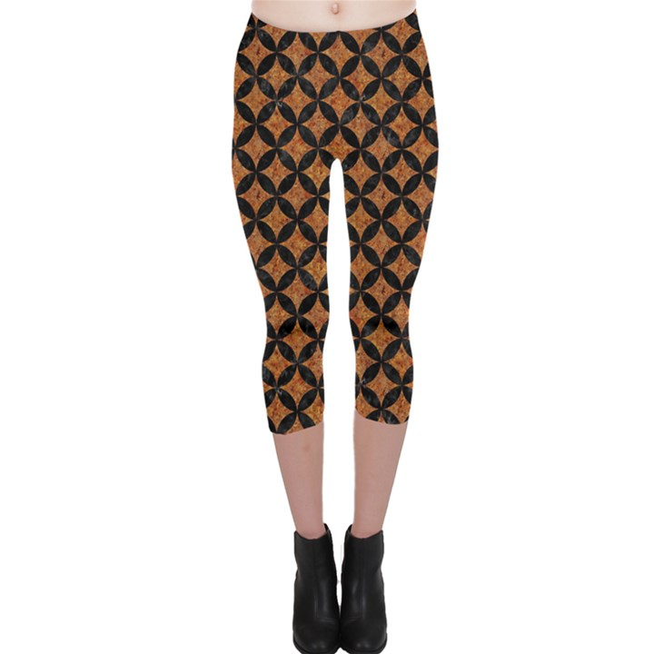 CIRCLES3 BLACK MARBLE & RUSTED METAL Capri Leggings