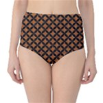 CIRCLES3 BLACK MARBLE & RUSTED METAL High-Waist Bikini Bottoms