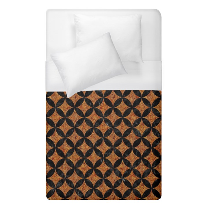 CIRCLES3 BLACK MARBLE & RUSTED METAL Duvet Cover (Single Size)