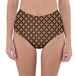 CIRCLES3 BLACK MARBLE & RUSTED METAL Reversible High-Waist Bikini Bottoms