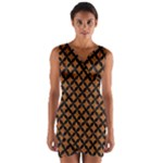 CIRCLES3 BLACK MARBLE & RUSTED METAL Wrap Front Bodycon Dress