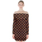 CIRCLES3 BLACK MARBLE & RUSTED METAL Long Sleeve Off Shoulder Dress