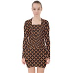 CIRCLES3 BLACK MARBLE & RUSTED METAL V-neck Bodycon Long Sleeve Dress