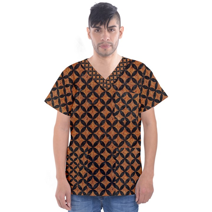 CIRCLES3 BLACK MARBLE & RUSTED METAL Men s V-Neck Scrub Top