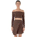 CIRCLES3 BLACK MARBLE & RUSTED METAL Off Shoulder Top with Skirt Set