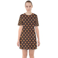 Circles3 Black Marble & Rusted Metal Sixties Short Sleeve Mini Dress